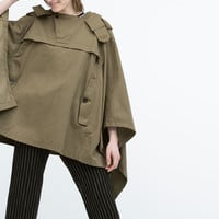 Cotton cape with wrap collar