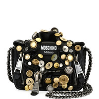Moschino Biker Button Shoulder Bag, Black