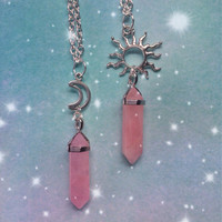 Rose Quartz point necklace with sun or moon charm