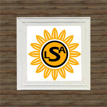 SWEET DAISY MONOGRAM vinyl decal * wall decal * monogram on canvas * block script monogram * vine script monogram * names * initial
