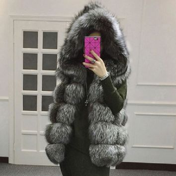 Artificial Fox Fur Waistcoat with Hood Sleeveless Faux Fur Vest for Women Imported Artificial Fur Women's Fur Coat