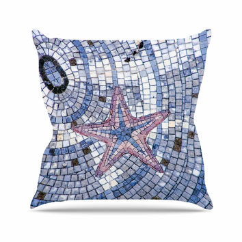 "Debbra Obertanec ""Mosaic Starfish"" Nautical Blue Outdoor Throw Pillow"