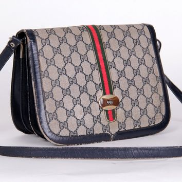 GUCCI Vintage Womens Monogram Grey Canvas Blue leather scrossbody shoulder bag