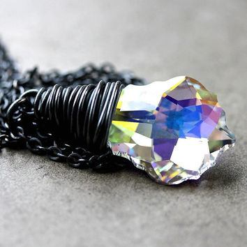 Mothers Day Sale AB Crystal Necklace, Swarovski Aurora Borealis Oxidized Sterling Silver Wire Wrapped- Northern Lights