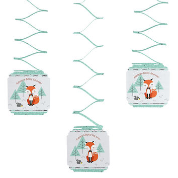 3 Personalized Baby Shower Hanging Decorations - Mr. Foxy Fox