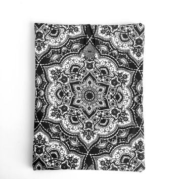 Mandala Ipad Air Case,Mandala Ipad Sleeve,Black Ipad Cover,Satin Cotton Ipad Case,Fabric Ipad Air Case,Black Book Case,Mandala İpad Case