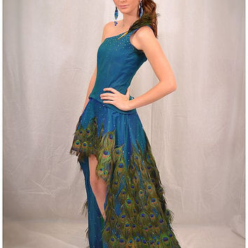 Peacock Feather Gown Red Carpet Showpiece by AnnoDominiDesigns