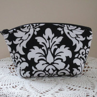 Cosmetic Bag Clutch Purse Black and White Damask Bridal Bridesmaid Gift