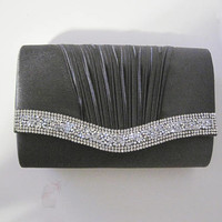 Gorgeous Grey Rhinestone Clutch with Chain Shoulder Strap Wedding Prom Holiday Accessories Clutches Purses Formal Clutch Rhinestone Clutch