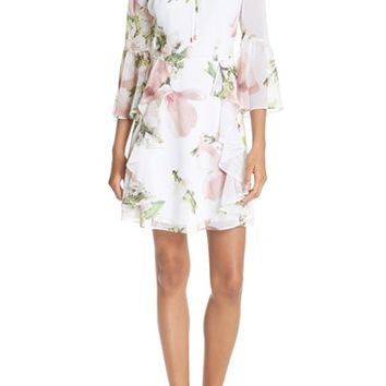 Ted Baker London Harmony Bow Neck Ruffled Dress | Nordstrom