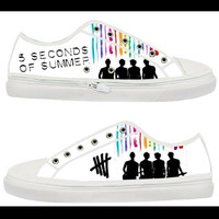 5 Second of summer 5 SOS rainbow,Custom Canvas Shoes for Women Model 101(New)