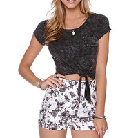 LA Hearts Washed Tie Front Tee at PacSun.com