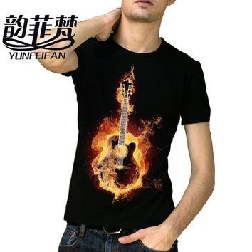 Black metallica T-shirt Rock Guitar Print Summer Hip Hop T-shirt Tops Tee
