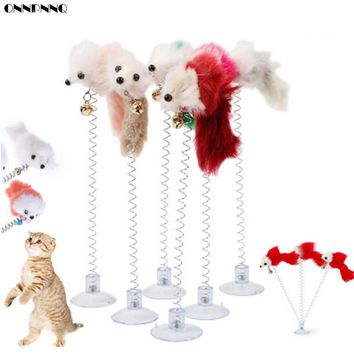 ONNPNNQ Pet Cat Feather False Mouse Bottom Sucker Playing Spring Toys Funny Cats Rod