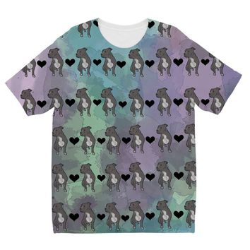 Pit Bull Watercolor Pattern Design by Amitie Kids Sublimation TShirt