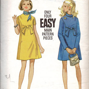 Retro 60s Empire Waist Maternity Dress Butterick 5520 Sewing Pattern Mod Mad Men Style High Neck Mini Length Bust 36