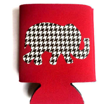 Custom Houndstooth Elephant Koozie,  Monogram Koozie, Can Koozie, Personalized Koozie