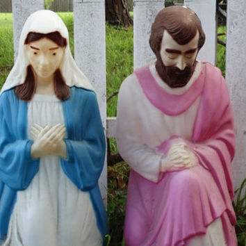 1987 Mary & Joseph Empire Blowmold Yard Art, MIA Baby Jesus, Nativity Set, Christmas Eve, Baby Born in Manger