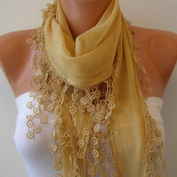 Mustard Scarf   Cotton  Scarf  Headband Necklace Cowl by fatwoman-sd834