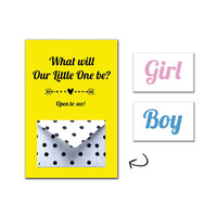 Printable Baby Gender Reveal Card Set - Baby Announcement Kit - Polka Dots