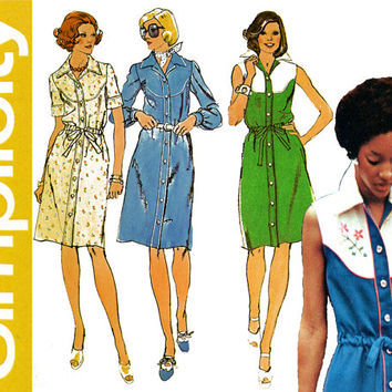 1970s Dress Pattern Bust 34 Simplicity 6147 Yoked Shirt Dress Sleeveless Long or Short Sleeve Western Piping Womens Vintage Sewing Patterns