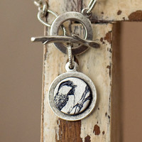 Round Chickadee Bird Charm Bracelet by My3Chicks on Etsy