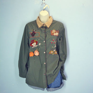 Vintage 1980s Autumn Themed Shirt / Embroidered Blouse / Army Green / Plus Size xl