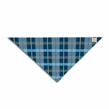 "afe images ""Blue Plaid Pattern"" Blue Multicolor Illustration Pet Bandana"