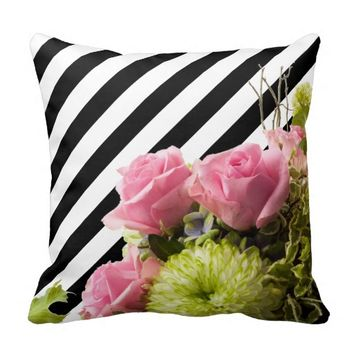 Beautiful Black & White Stripes with Roses Throw Pillows
