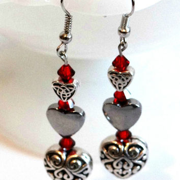 Antique Silver Triple Heart Earrings with Ruby Red Swarovski Crystals, Valentines Day Jewelry, Gifts for Her, Dangle Puffy Solid Hearts