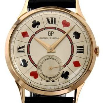 Girard Perregaux Vintage Poker Dial 18K Gold Watch, 7/10 Condition - Luxury Watches: Rolex, Cartier, Hamilton And More - Modnique.com