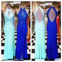 Mermaid Prom Dress Halter Neck Key Hole Back Side Slit Prom Party Dress Dazzling Crystal Beading Prom Dress