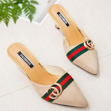 GUCCI Trending Women Stylish Suede Metal Pointed High Heels Sandals Apricot
