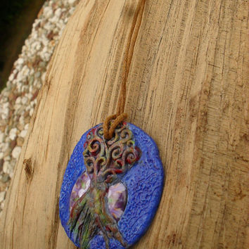 Fantasy Tree Necklace, Pagan Tree Pendant, Hippie Pendant, Clay Art Jewelry, Boho Tree Of Life Necklace