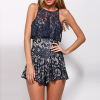 Navy Sleeveless Lace Pleated Romper