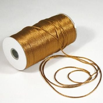 Satin Rat Tail Cord Chinese Knot, 2mm, 200-yard, Antique Gold