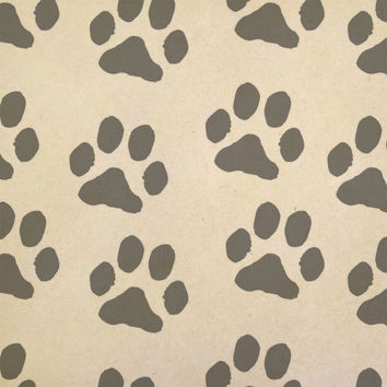 Paw Prints Scatter Kraft Gift Wrapping Paper