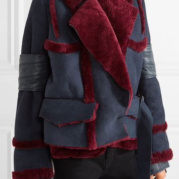 Sacai - Leather-trimmed paneled shearling jacket
