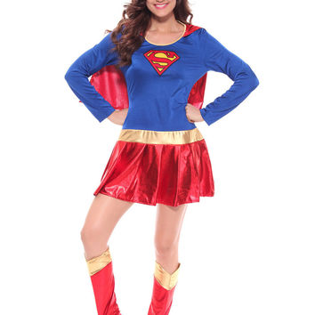 MOONIGHT Woman Superhero Adult Costume Fancy Dress Outfit Halloween Super Girl Superwoman Costume For Halloween Costume