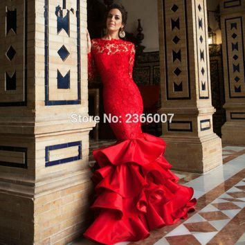 Red prom dresses long sleeves 2017 New Arrival High Quality Sleveless Backless custom made Prom Mermaid party gown lace dress