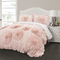 Calliope Rose 3 PC Flower Ruffle Comforter Bedding SET