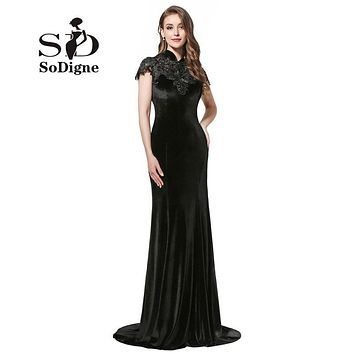 Evening Dress 2017 SoDigne New Elegant Robe De Soiree High Neck Black Prom Dress Capped Sleeve Black Velour Party Gown Appliques