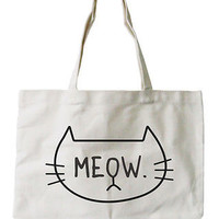 Women's Reusable Canvas Bag-Cute Meow Cat Face Natural Canvas Tote Bag