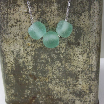 Aqua Recycled Glass Necklace - Light Blue Green Recycled Glass Bead Necklace Silver Chain