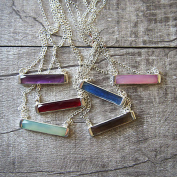 Gemstone Bar Necklace Sterling Silver Bar Gemstone Necklace Women's Necklace London Blue Quartz Amethyst Hydro  Necklace