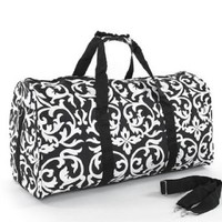 World Traveler Black Damask Gym Duffle Bag 21-inch