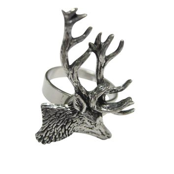 Side Facing Stag Deer Head Adjustable Size Fashion Ring