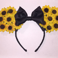 Floral Mickey Mouse Ears Headband (Sunflowers)