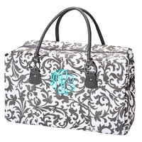Overnight Bag Monogrammed Grey Floral Damask Weekend Tote Luggage