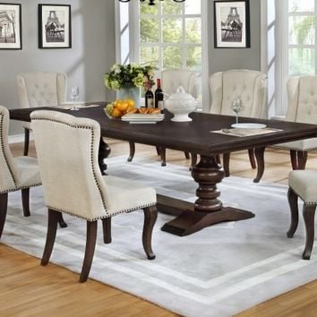 9 pc Sania II collection espresso finish wood rustic style dining table set with tufted chairs